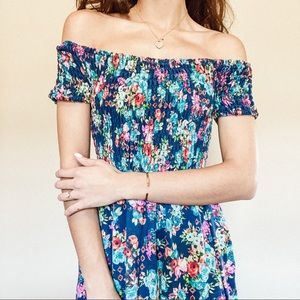 Off-the-Shoulder/Strapless Floral Dress